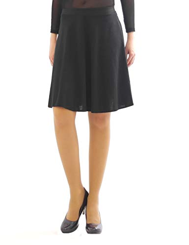 Swing Rock Midi Falten-Rock Gummibund hohe Taille Midirock Skirt Maxi schwarz XXL-XXXL