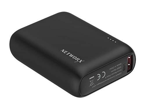 Networx Powerbank 10.000 mAh, Zusatzakku mit 1x USB-C, 1x USB-A, schwarz