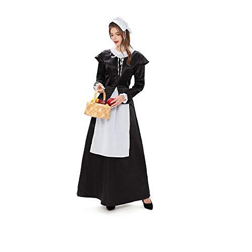ZJYX Santa Suit Kostüm, Halloween Kostüm Europäisches Herrenhaus Dienstmädchen Kostüm Bier Kostüm Retro Garten Dienstmädchen Kostüm Langrock, Geeignet für Festivals und Performances,L
