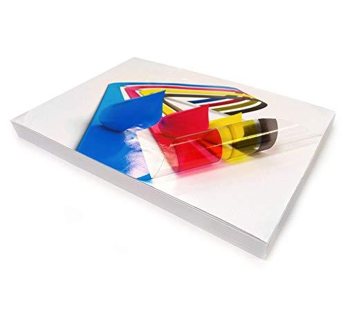 20 fogli di carta adesiva trasparente e lucida, in formato A4, in vinile auto-adesivo di alta qualità, stampabili con stampanti a getto di inchiostro