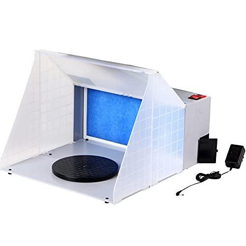 Walmeck Kit de cabina de pulverización de aerógrafo profesional portátil con luz LED, extractor de aerógrafo, filtro de escape, kit de pintura para manualidades en miniatura