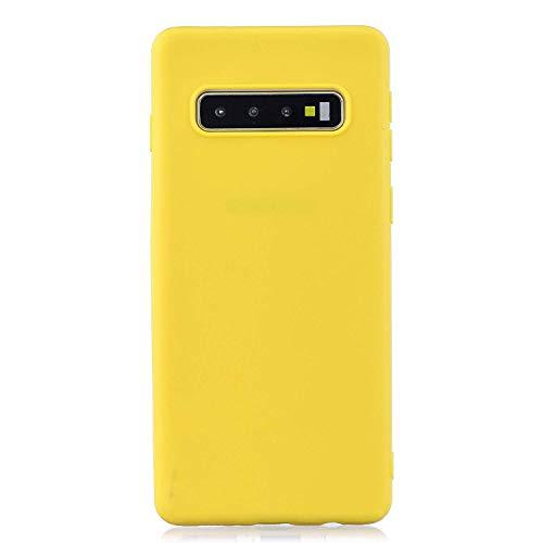 cuzz Funda para Samsung Galaxy S10 Plus+{Protector de Pantalla de Vidrio Templado} Carcasa Silicona Suave Gel Rasguño y Resistente Teléfono Móvil Cover-Amarillo
