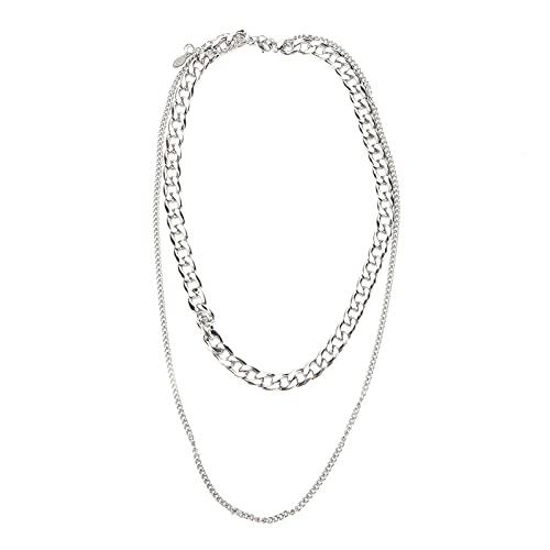 Collar de cadena DIY simple de moda Punk de acero inoxidable eslabón de cadena para hombres mujeres decoración artesanía regalo