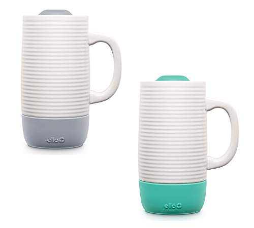 Ello Jane Ceramic Travel Coffee Cup with Slider Lid   BPA Free   Dishwasher & Microwave Safe   Large Size Tea & Coffee Mug   Heavy Duty   Great for Camping  18 oz (532ml)   Yucca/Grey Set   Pack of 2