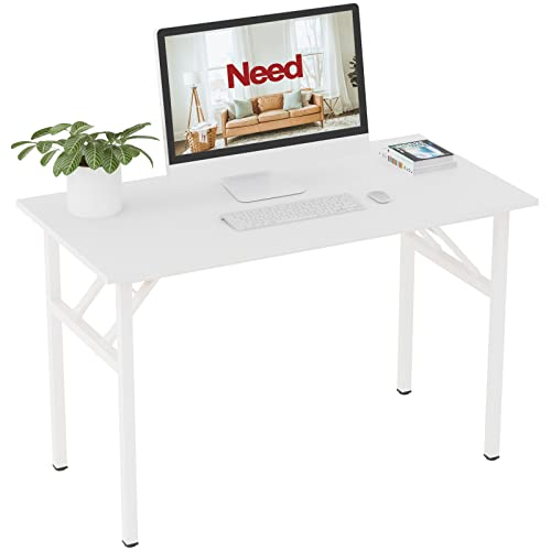 Need Computer Desk 120x60cm Heavy Duty Portable Folding Table for Home Office/Company/Picnic/Garden/Beach/Camping Use, White