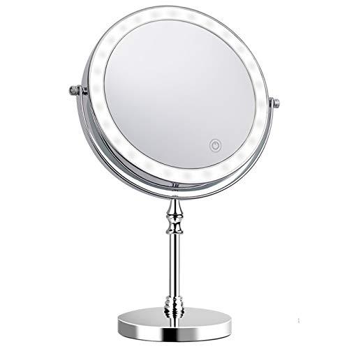 UUCOLOR Kosmetikspiegel mit leichtem doppelseitig 360° LED Schminkspiegel mit 1x/10x Fache Vergrößerung Touchscreen Batterie Schminkspiegel Rasierspiegel für Badezimmer Zuhause