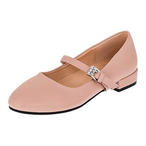 Dorémi Festliche Mädchen Ballerinas Schuhe mit Schnalle für Hochzeit Kommunion Feier (M480rs Rosa, Numeric_26)