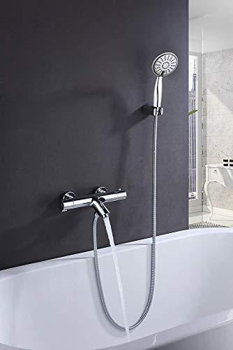 Kibath L407551 thermostaatkraan voor badkuip Bo met uitrusting - handgrepen zink, glanzend chroom