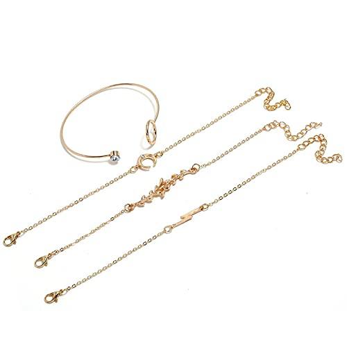 Denluns Juego de 4 pulseras de cadena ajustable para mujer, de capas doradas, juego de pulseras apilables con apertura para mujer,