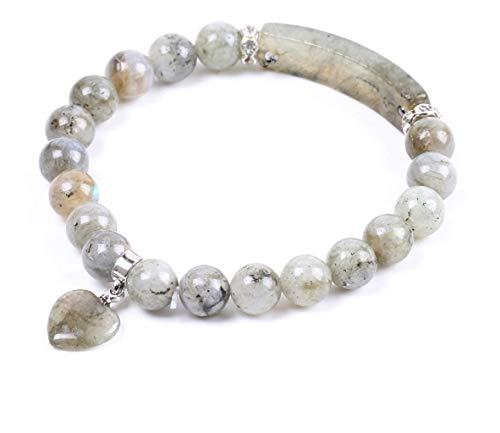 PIERRETOILES Bracelet Protection des Therapeutes Coeur en Labradorite