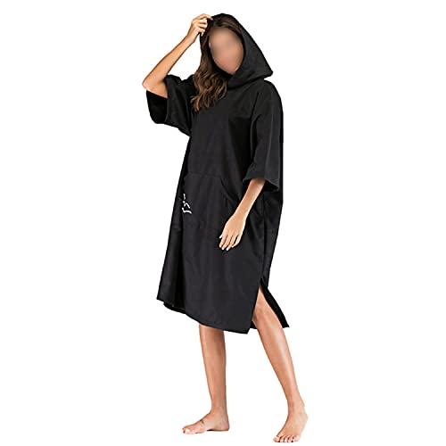 HGYJ Poncho de Toalla para cambiarse de Bata con Capucha, Poncho de Bata de baño espesante de Microfibra para Mujer/Hombre, Manga Media de Secado rápido, para Playa/natación/Surf,Black,One Size