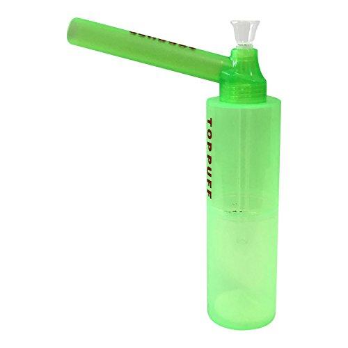 Funky Gear - Tubo de acrílico para fumar con boquilla desmontable, tubo de cristal y tallo, tubo de agua portátil, diseño simple y elegante, perfecto para viajes, 22 cm, color verde claro