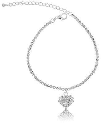 Rhinestone Stretch Anklet Bracelet Heart Charm Austrian Crystal Ankle Clear Sizes: One Size