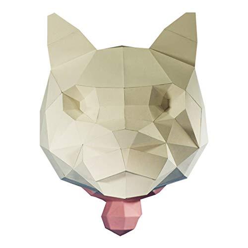 Cabeza De Gato Modelado Artesanía De Papel De Bricolaje Escultura De Papel 3D Juguete De Papel Rompecabezas De Origami Hecho A Mano Modelo De Papel Decoración De Pared Geométrica Tridimensional