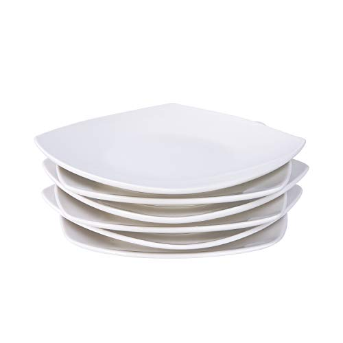 Cutiset Porcelain Dessert, Salad Plates, Set of 6 , White (8 inch in diagonal, Square)