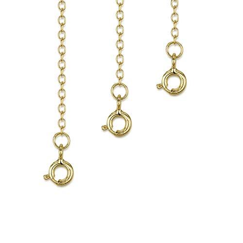 Amberta Set de 3 Cadenas de Extensión para Pulseras y Collares en Plata de Ley 925 Chapadas Oro Amarillo 18K - Kit de Extensor 2 mm para Tobilleras para Mujer - Longitudes: 25, 50, 100 mm