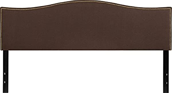 Emma Oliver Upholstered King Size Headboard With Nailtrim In Dark Brown Fabric