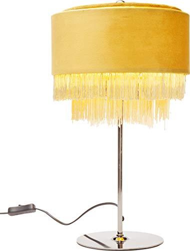 Kare Design Tischleuchte Tassel Gelb, Gelbe Tischlampe mit Rundem Lampenschirm und Gestell in Chrom,  verschiedene Ausführungen erhältlich, (H/B/T) 42,5x25x25cm