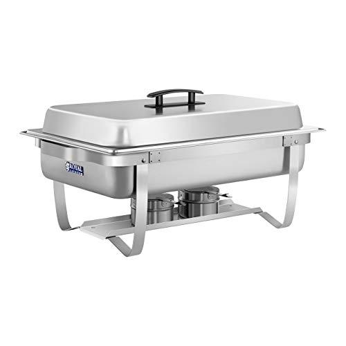 Royal Catering Chafing Dish Chauffe-Plat Bain-Marie RCCD-1/1-65S-1 (2 brûleurs sécurisés, Récipient pour l'eau 6,5 L, Récipient pour aliments 8 L, Acier inoxydable, Incl. bac GN 1/1)