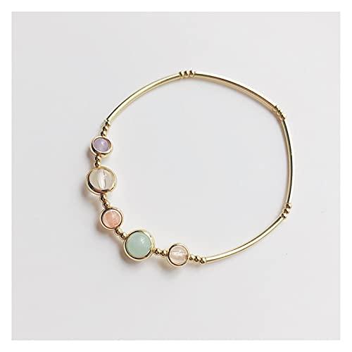 tggh Pulsera de las señoras de la moda de la suerte de piedra pulsera elástica para las mujeres niñas estilo simple oro color brazaletes joyería regalos de cumpleaños