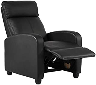 Recliner Chair for Living Room Recliner Sofa Wingback Chair Single Sofa Accent Chair Arm Chair Home Theater Seating Modern Reclining Easy Lounge (Black)