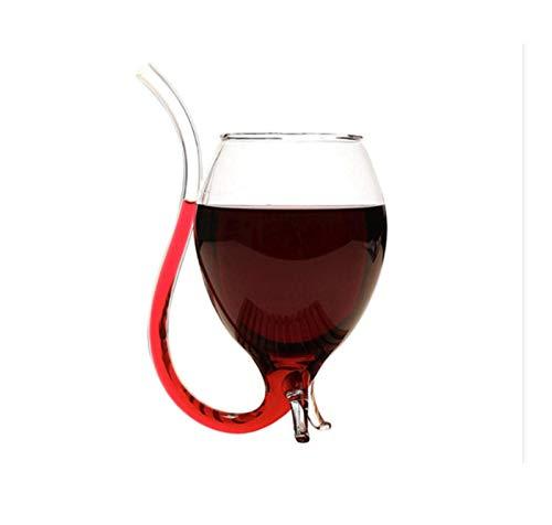 'N/A' Copa de Vino Tinto de Moda, Copa de Vino Tinto Creativa de 300 ml con Pajita, Vaso de Jugo Transparente, Regalo de Fiesta Familiar