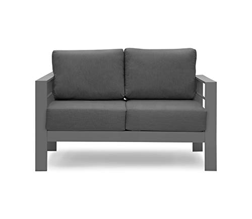 Solaste Furniture Metal Loveseat, All-Weather Contemporary Aluminum Outdoor Sofa Chair with Cushions, Dark Grey