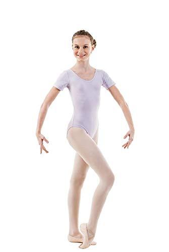 Sansha Maggy Kurzarm Mädchen Gymnastikanzug Baumwolle Ideal für Ballett, Tanz, Gymnastik (Lila, 140cm)