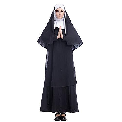 XYFW Disfraz De Halloween para Adultos, Sacerdote De Jesucristo para Hombres Y Monja María para Mujeres Disfraz Cosplay Misionero Católico Horror Valak Traje,S