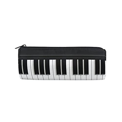 VJSDIUD Negro Blanco Teclado de piano Música Bolsa de lápiz Estuche de lápices redondo Estuche de lápiz con cremallera Estuches Bolsa de papelería Cosméticos Maquillaje Bolsa de ce