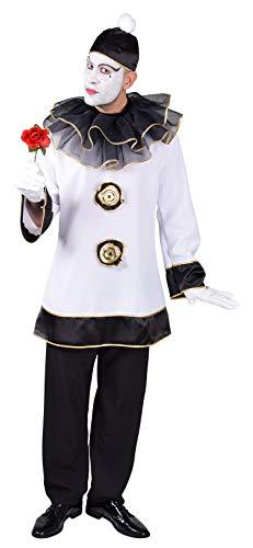 M218269-XXL weiß-schwarz Herren Pierrot Clown Kasper Kostüm Gr.XXL