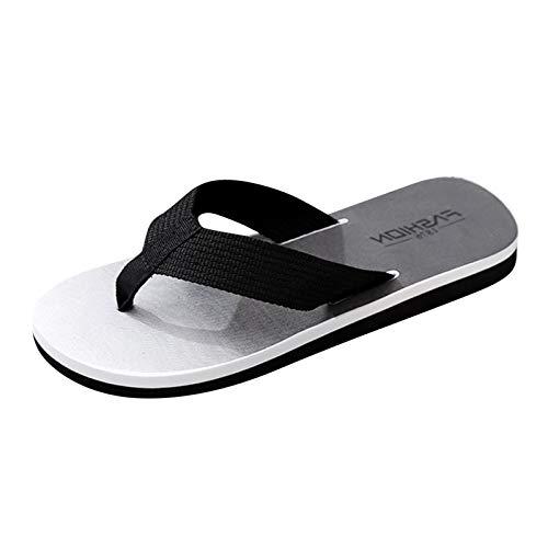 Hausschuhe Herren Sommer Bequem Flache Slipper Surf Beach Flip Flop Mode Casual Einfach Badeschuhe Anti-Rutsch Indoor Zehentrenner Weicher Boden Einfarbige Pantoffel