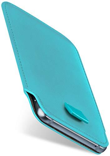 moex Slide Hülle für CAT S60 - Hülle zum Reinstecken, Etui Handytasche mit Ausziehhilfe, dünne Handyhülle aus edlem PU Leder - Türkis