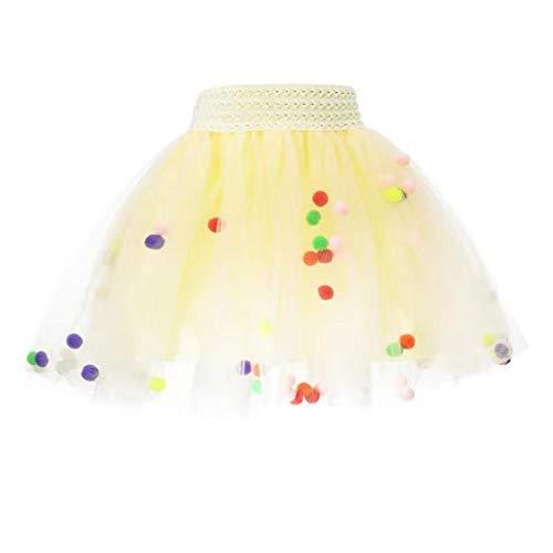 MRULIC Baby und Mädchen Tüllrock Tutu Set Mit Kinder Rock Ballettrock TüTü Unterkleid Petticoat Rockabilly Kurz Kleid Flusen Ball Prop Fotografie Kostüm(Beige,Höhe:120-140cm)