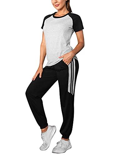 Wayleb Tuta da Ginnastica Donna Estate Abbigliamento Donna Due Pezzi Cuciture Yoga Tute Ginnastica alla Moda conTops Casual e Pantaloni per Pigiama Jogging