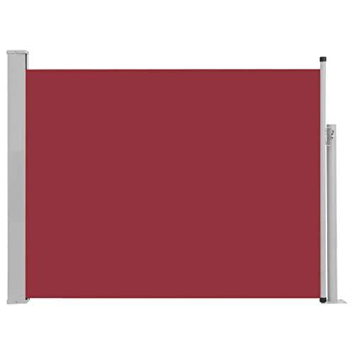 vidaXL Seitenmarkise Ausziehbar Sonnenschutz Sichtschutz Windschutz Seitenrollo Markise Seitenwandmarkise Balkon Garten Terrasse 140x500cm Rot
