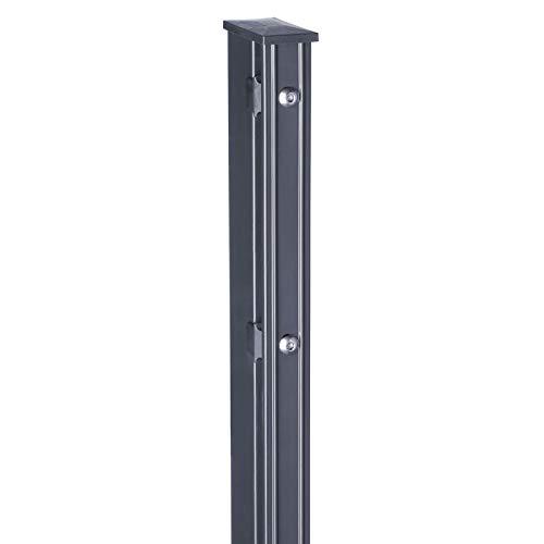 HORI® Pfosten für Doppelstabmattenzaun, grau anthrazit, wahlweise mit Klemmhalter, Abdeckschiene, Aufschraubkonsole oder Aufschraubwinkel I für Zaunhöhe 143 cm