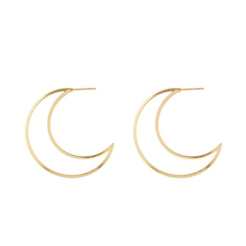 Trebdy Metal Hollow Moon Earrings For Women Punk Hoop Eaarings Fashion Jewelry Accessories (Gold)