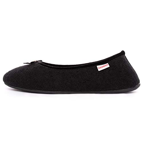 GIESSWEIN Hohenau-Damen Hausschuhe, Flache Pantoffeln, Schwarz (schwarz-022), 36 EU
