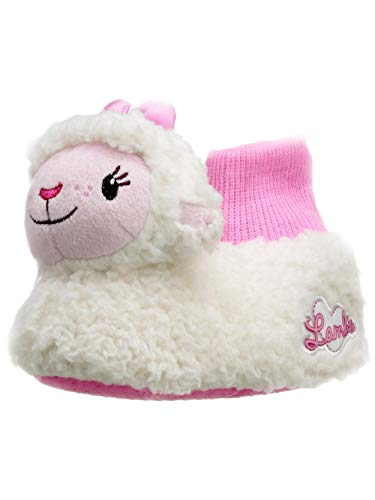 Doc McStuffins Toddler Girls 3D Lambie Plush Lamb Sock Top Slippers (5-6 M US Toddler, White/Pink)