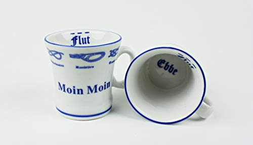 Moin Moin Pöttchen mit Seemannsknoten 2er Set hoch Hamburg Andenken Mini Becher Schnapsglas Schnaps