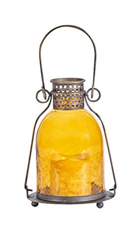 Smart Design 84069-LC Monaco Lantern con vela LED, metal acabado en bronce envejecido, incluye luz LED ámbar