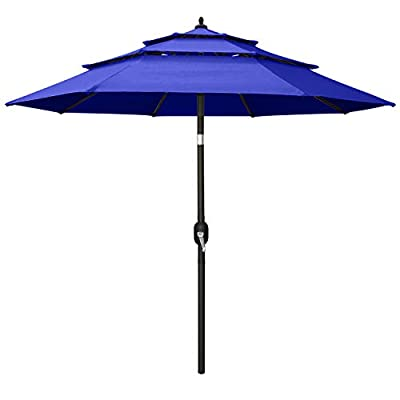 ABCCANOPY 10FT 3 Tiers Market Umbrella Patio Umbrella Outdoor Table Umbrella with Ventilation and Push Button Tilt for Garden, Deck, Backyard and Pool,8 Ribs Blue