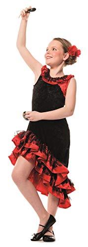 L3100210-140 schwarz-rot Kinder Mädchen Spanierin Kostüm Flamenco Kleid Seniorita Gr.140