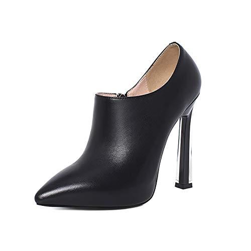 QSMGRBGZ Zapatos de tacón alto sexy para mujer, zapatos altos para primavera, 12 cm, zapatos individuales puntiagudos, cremallera lateral, suela de tendón de ternera, negro, 41 EU