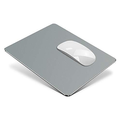 Vaydeer Metall Mauspad Aluminium Mousepad doppelseitig verfügbares Design, Hartes Mouse Pad Mat Padwasserdicht für Spiele und Büro (Mittel, Grau, 24x20 cm)
