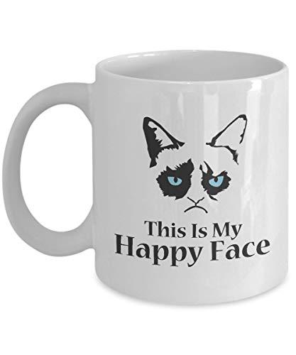 This Is My Happy Face-Grumpy Cat Mug-Grumpy Cat Coffee Mug-Grumpy Cat Merchandise-Ceramic Coffee White Mug -Personalized Gift For Birthday,Christmas And New Year-Grumpy Cat Art-Grumpy Cat No Mug
