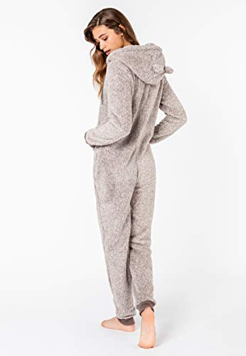 Eight2Nine Damen Jumpsuit aus kuscheligem Teddy Fleece mit Ohren, hellgrau - 6