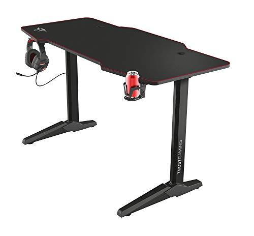 Trust Scrivania Gaming XL 140 x 66 cm GXT 1175 Imperius, Grande Tavolo per Computer/PC con Sistema di Gestione dei Cavi, Supporto Cuffie e Portabicchiere, Nero