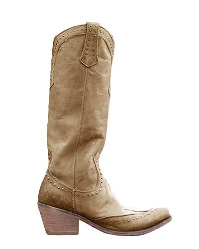 Minetom Botte de Cowboy Western Cowgirl Femmes Bottines...